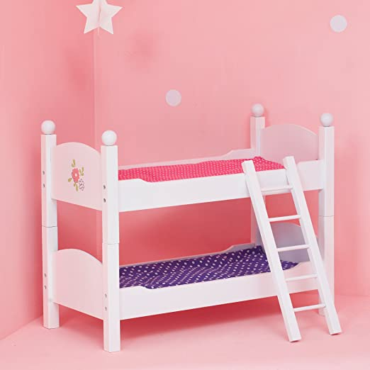 "LADDER /& BEDDING for 18/"" Dolls NEW Sophia/'s WHITE BUNK BED W// PAINTED FLOWERS"