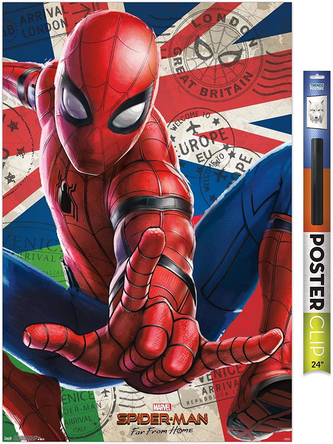 """Trends International Marvel Cinematic Universe - Spider-Man - Far from Home - Spidey Wall Poster, 22.375"""" x 34"""", Premium Poster & Clip Bundle"""