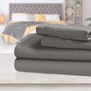 SUPERIOR Egyptian Cotton Solid Bed Sheet Set, Full, Grey, 4-Pieces
