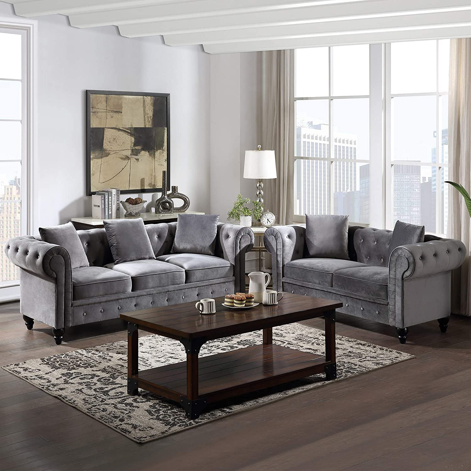 Amazon Com Sofa And Loveseat Set Gray Julyfox Velvet Chesterfield Sofa Set With Rolled Arms Button Tufted Cushions Kitchen Dining