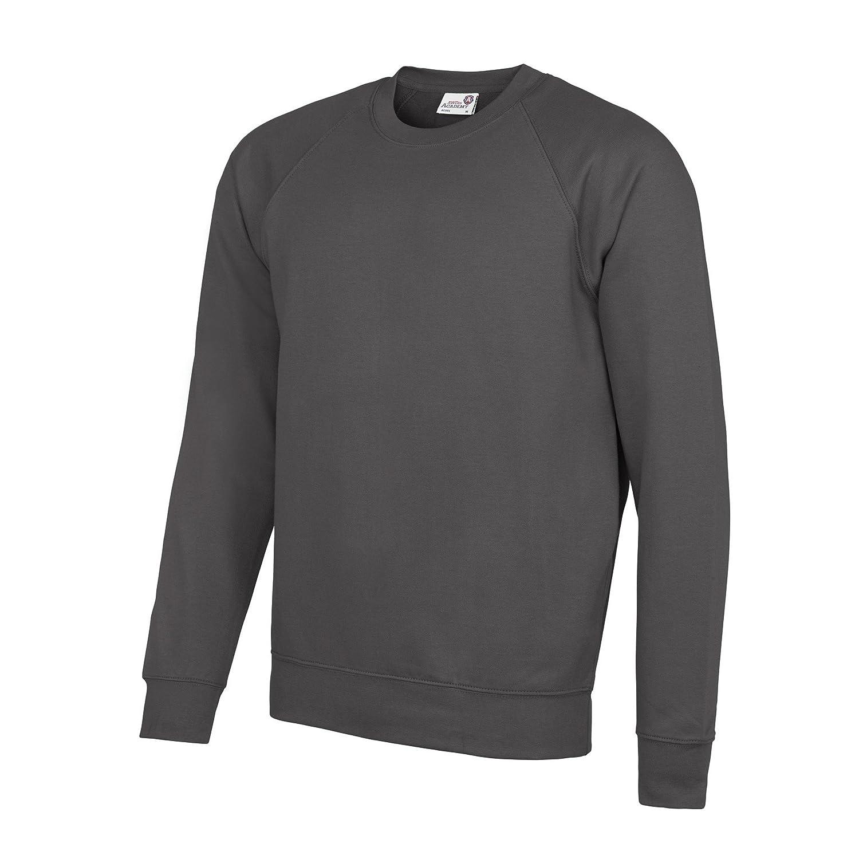 2XL Black AWDis Academy Childrens//Kids Crew Neck Raglan School Sweatshirt