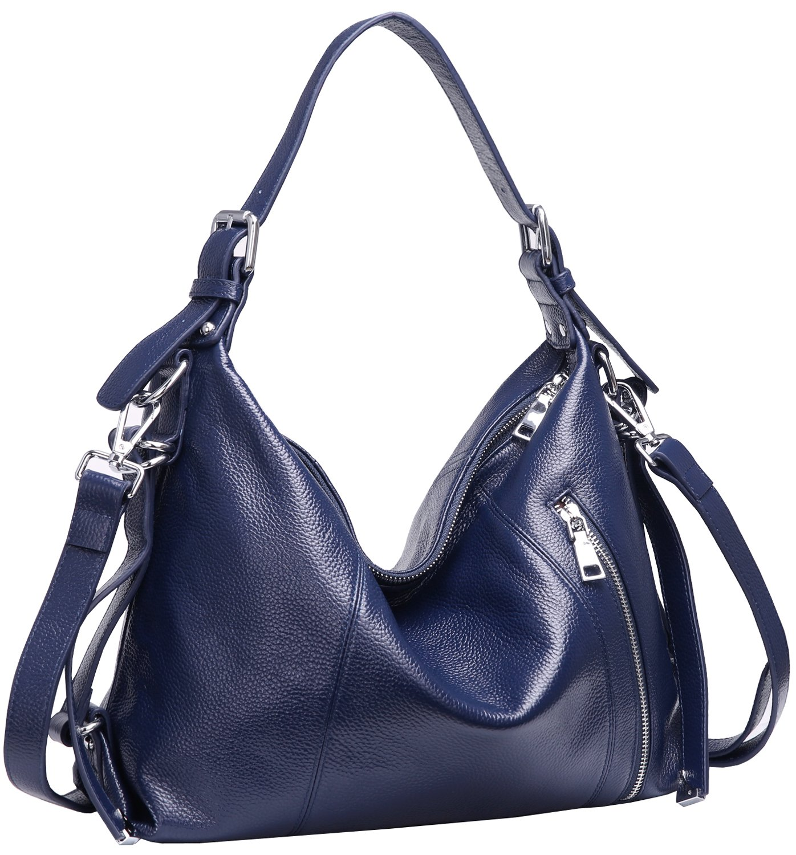 Heshe Vintage Women's Leather Shoulder Handbags Totes Top Handle Bags Cross Body Bag Satchel Handbag Ladies Purses (Navy Blue-R)