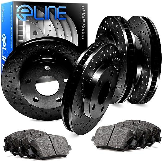 For 2011-2019 Dodge,Jeep,Durango,Grand Cherokee R1 Concepts eLine Front Rear Black D//S Brake Rotors Kit
