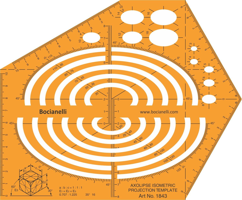 Isometrica ellisse Ellissi Shape Symbols Drawing Drafting template stencil Bocianelli CAD-IM-1843