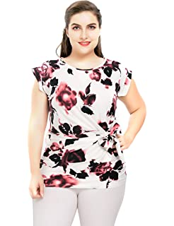 bd72156263b18 Chicwe Women s Plus Size Stretch Floral Rose Printed Casual Top Blouse with  Waist Mock Tie