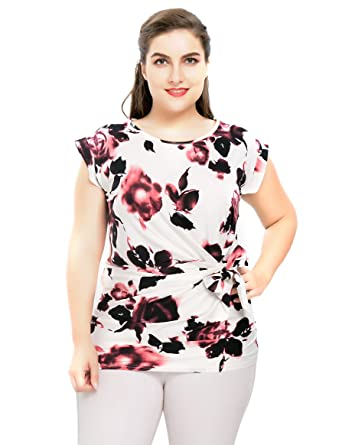 4ebf53c6e7c Chicwe Women s Plus Size Stretch Floral Rose Printed Casual Top Blouse with  Waist Mock Tie 1X