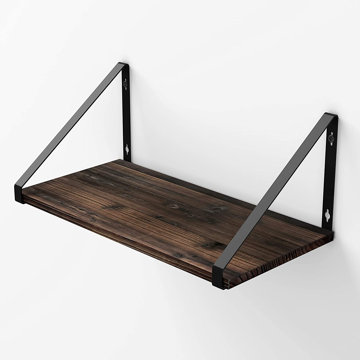 BAMEOS Floating Shelves Rustic Wood Wall Shelf Wall Mounted Shelves for Living Room, Office, and Bedroom, with Metal Bracket