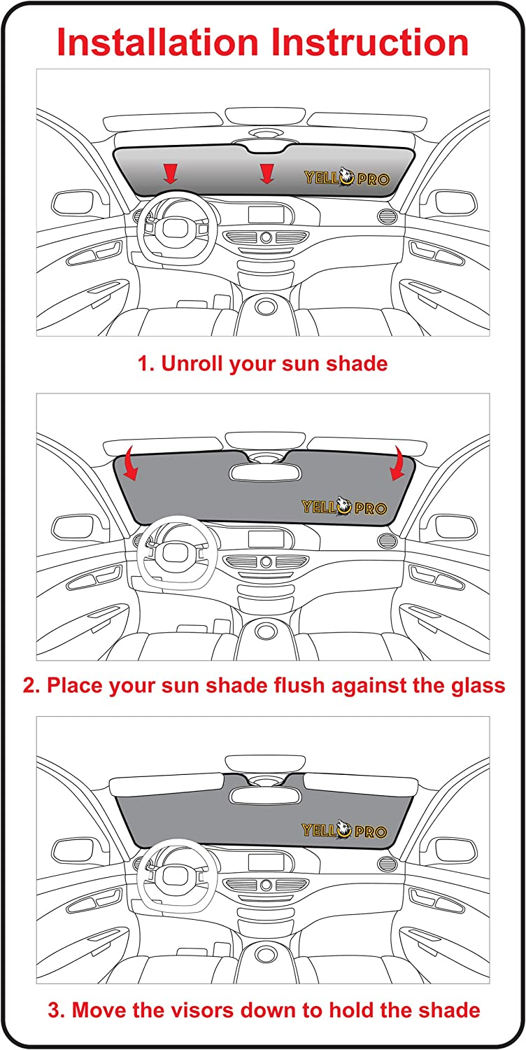 Sun Shade Made in USA YelloPro Custom Fit Windshield Sunshade for 2007 2008 2009 2010 2010 2011 2012 2013 2014 2015 2016 2017 2018 2019 2020 Toyota Tundra Limited SR5 Platinum TRD Pro Pickup Truck