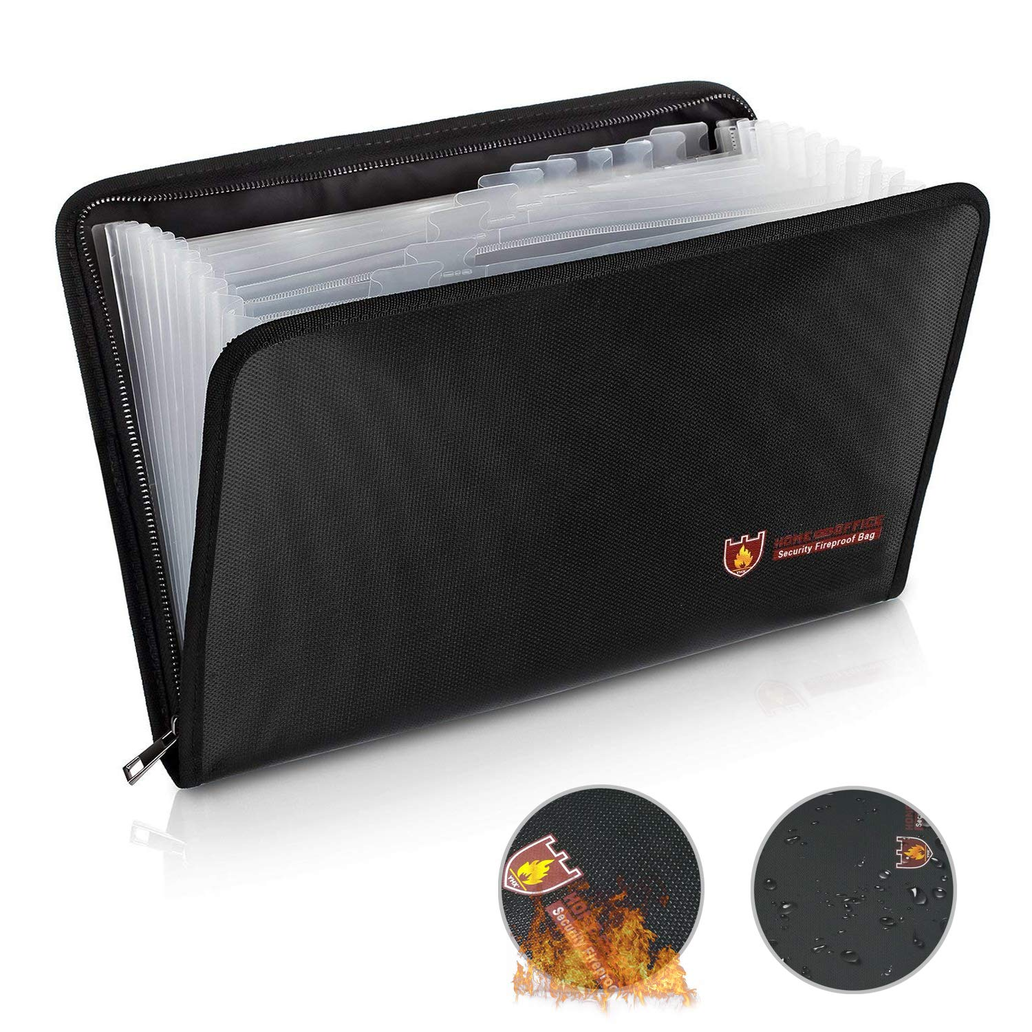 Fireproof File Folder Fireproof Document Bag with 12 Pockets, Non-Itchy Silicone Coated Fire Proof and Water Proof Portable File Organizer Pouch with Fire Resistant Zipper in A4 Size (14.3'' x 9.8'')