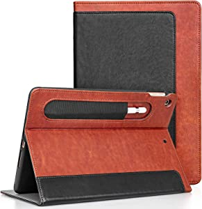 JETech Case for New iPad 8th / 7th Generation(10.2-Inch, 2020/2019 Model) with Pencil Holder, Highly Protective, Smart Cover Auto Wake/Sleep, Black/Brown