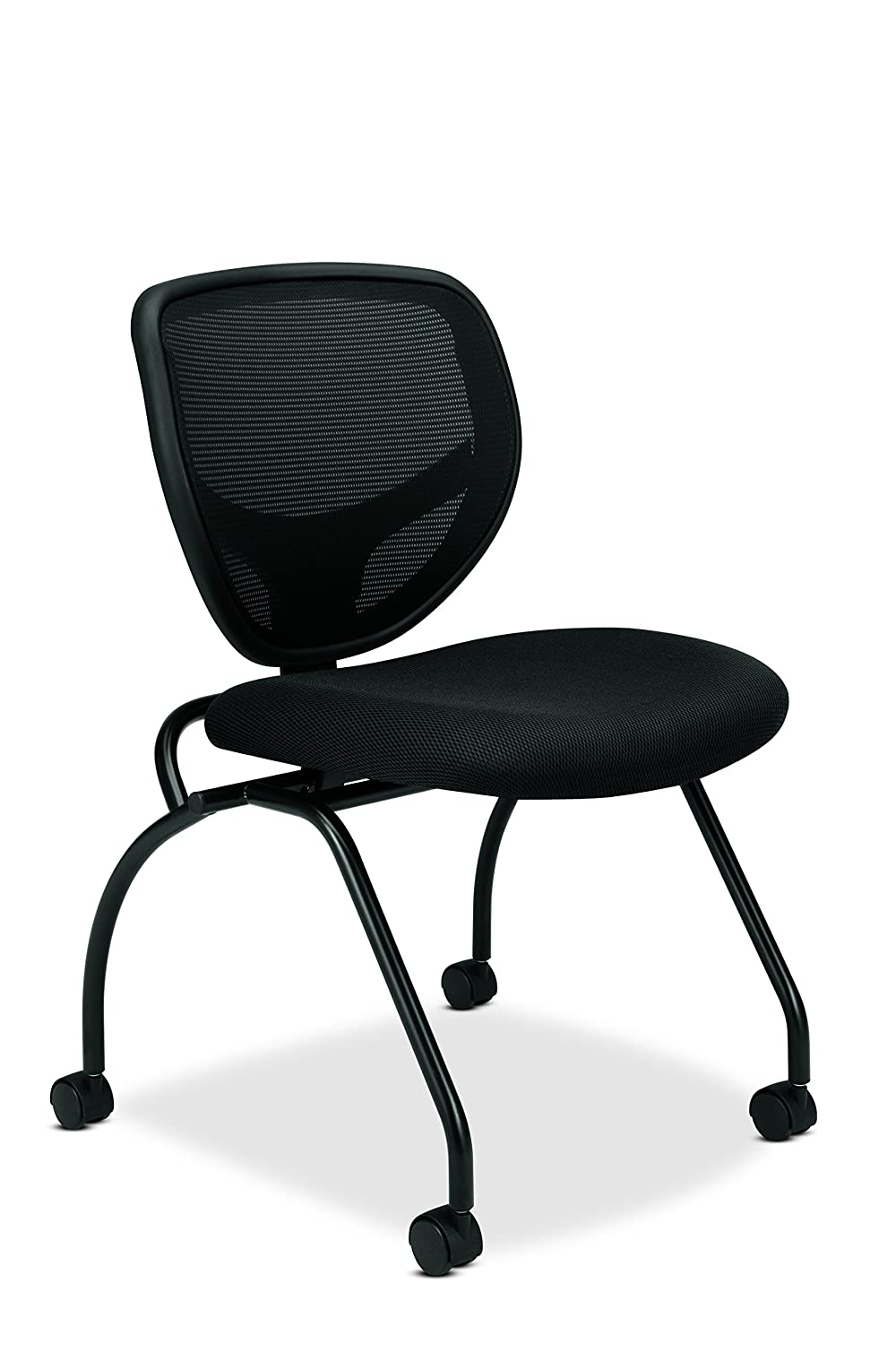 HON Guest Chair – Mesh Stacking Chairs and Folding Chairs Office Furniture, Armless, Black, Set of 2 VL302
