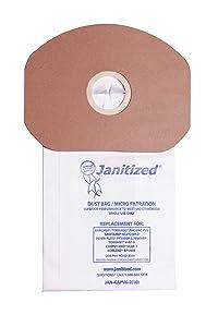Janitized JAN-KAPV6-2(10) Paper Premium Replacement Commercial Vacuum Bag for Sanitaire, Tornado Pac-Vac, Koblenz, Tennant, Powr-Flite Backpack Vacuum Cleaners (10-10 Packs)