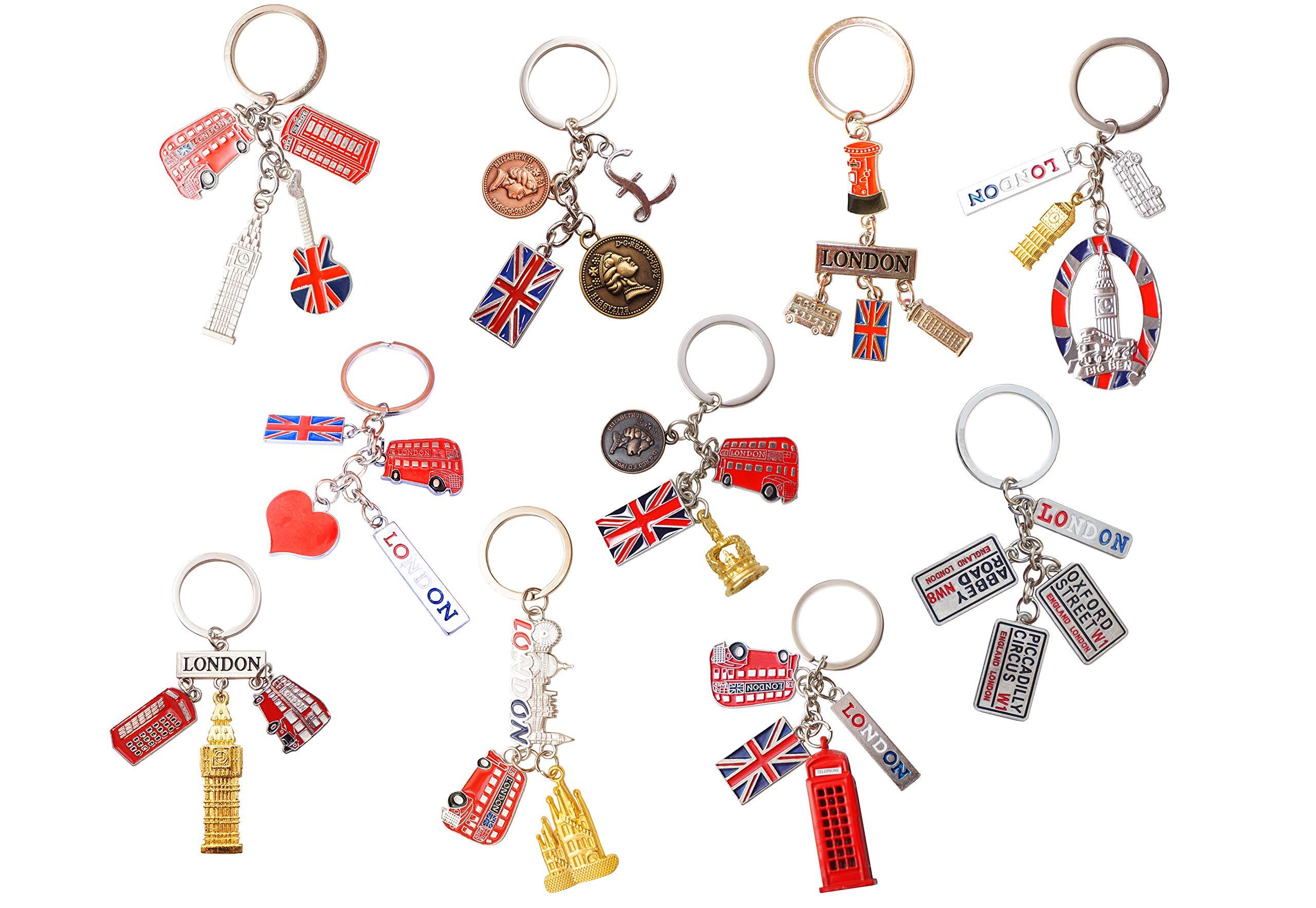 5 BRITISH MINIATURE LONDON KEY RING BRELOCK DIECAST METAL KEYCHAIN SOUVENIR GIFT