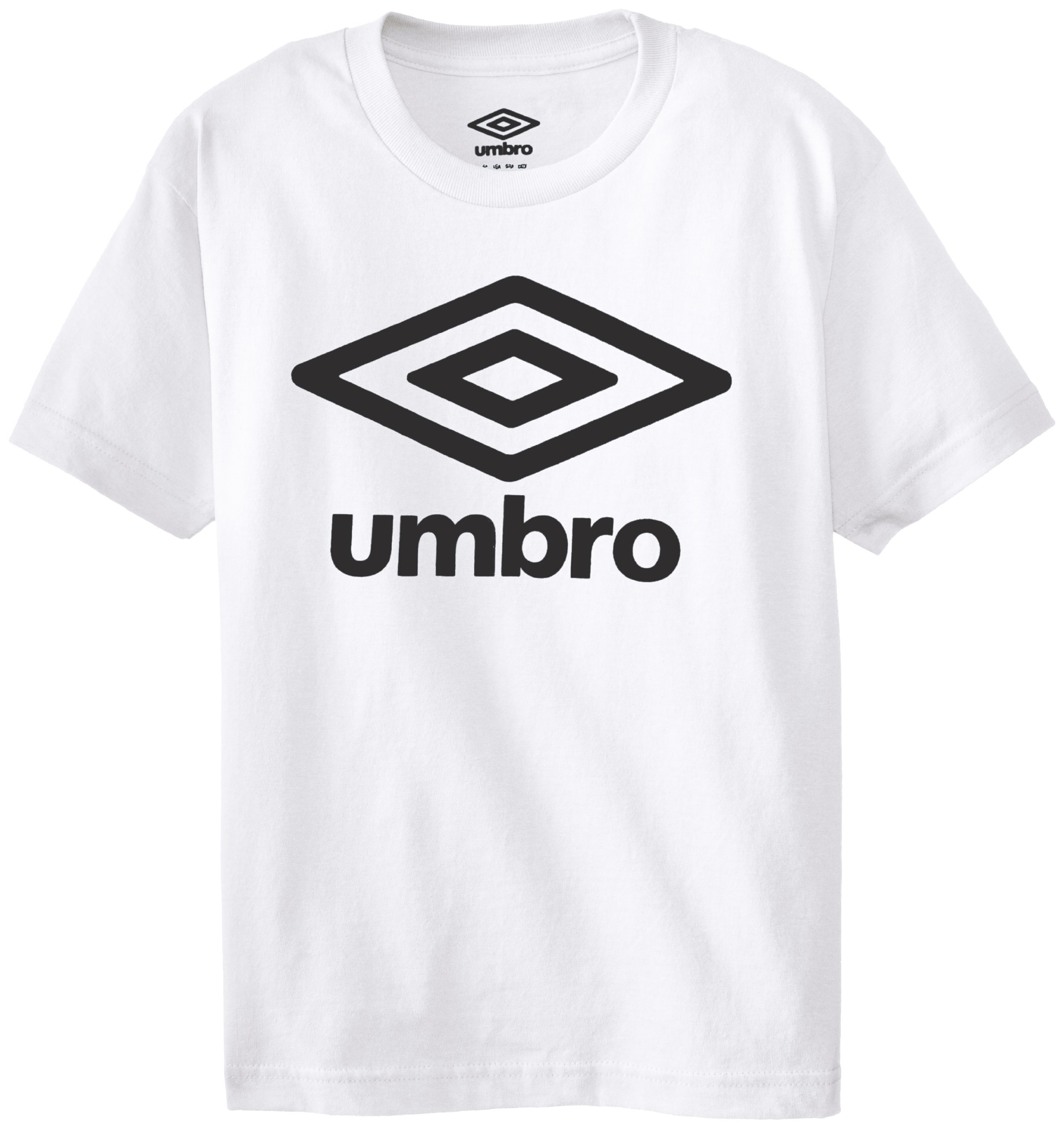 Umbro Big Boys' Short Sleeve Logo Front Only Screen, White, Small
