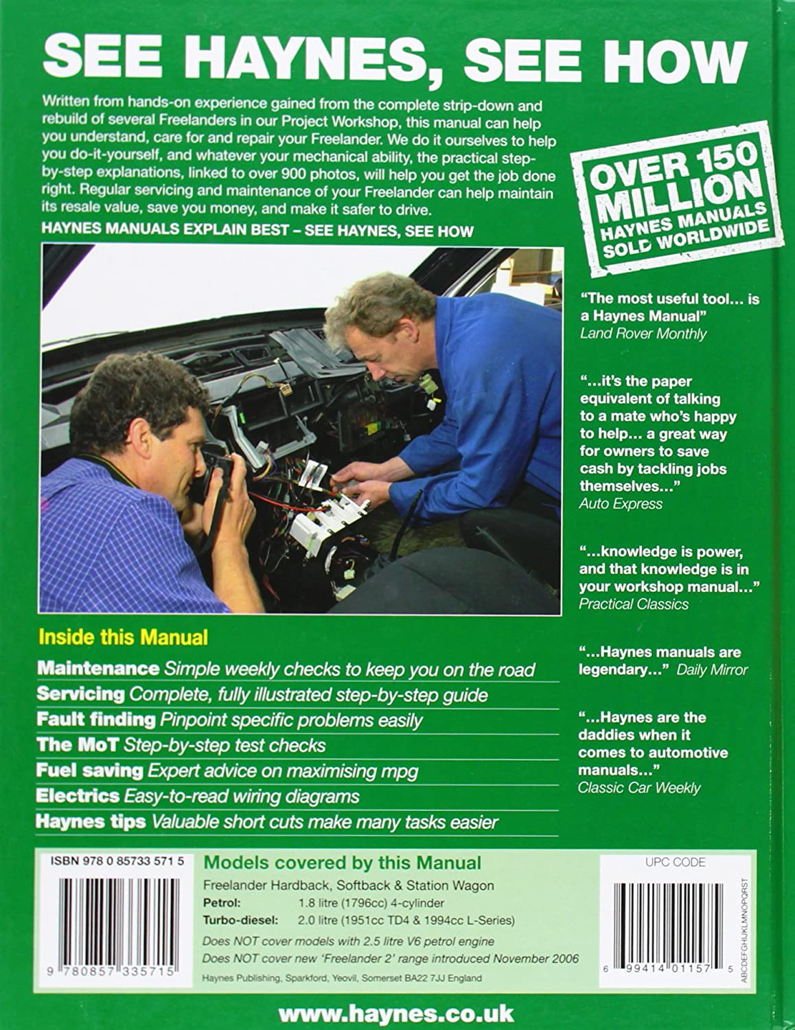 Amazon.com: Land Rover Freelander Service and Repair Manual: 1997-2006  (Haynes Service and Repair Manuals): Health & Personal Care