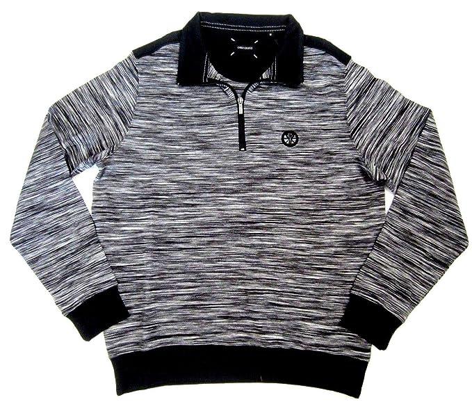 Carlo Colucci Herren Pulli Designer Sweatshirt Sweaty blau mit 1//4 Zip  XL,XXL