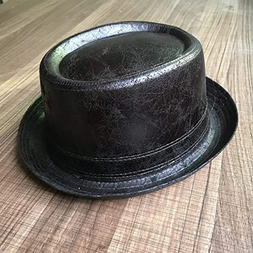 4ff810b1bbe Amazon.com  Boater Fedora Hat for Dad Flat Pork Pie Hat for Gentleman  Bowler Gambler Homburg Big Size 58CM 59CM Classic 100% Leather  Clothing