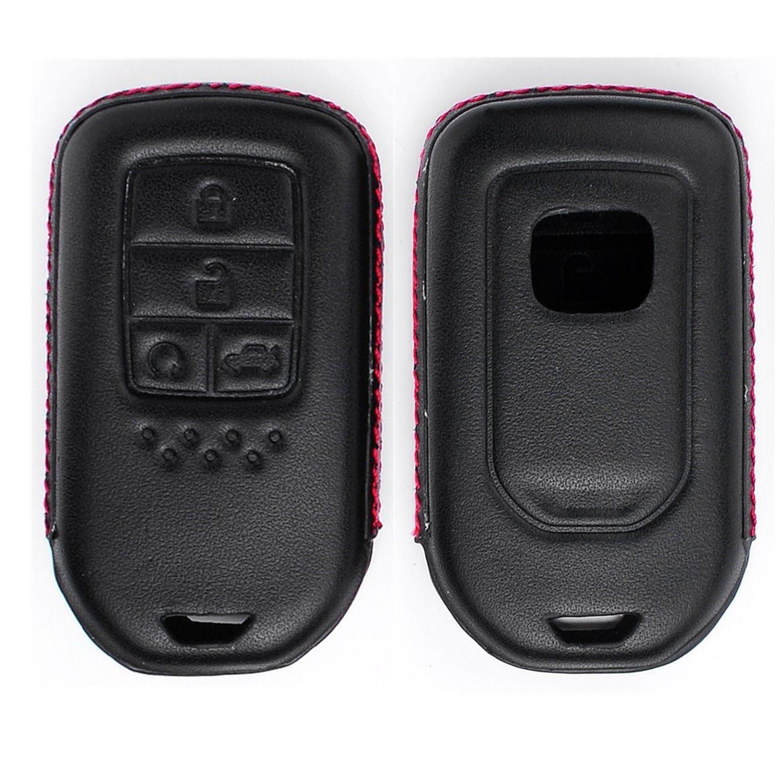 RoyalFox Genuine Leather 4 Buttons Key Fob case Cover for Honda Smart Key Honda Jade CR-V Accord Crider Vezel Civic Greiz Spirior Car Remote Pouch with Key Rings Keychain Holder Metal Hook Black