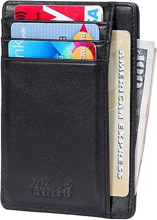 Slim Minimalist Wallet RFID Blocking Front Pocket Wallet Credit Card Holder Minimal Thin Wallet for Mens Crazy Horse Leather Carbon Fiber Vegan Wallet