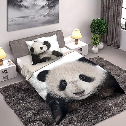 Copripiumino Matrimoniale Animali.Set Letto Cotone Panda Natura Animali Copripiumino Letto Singolo 140x200cm E Federa Wild