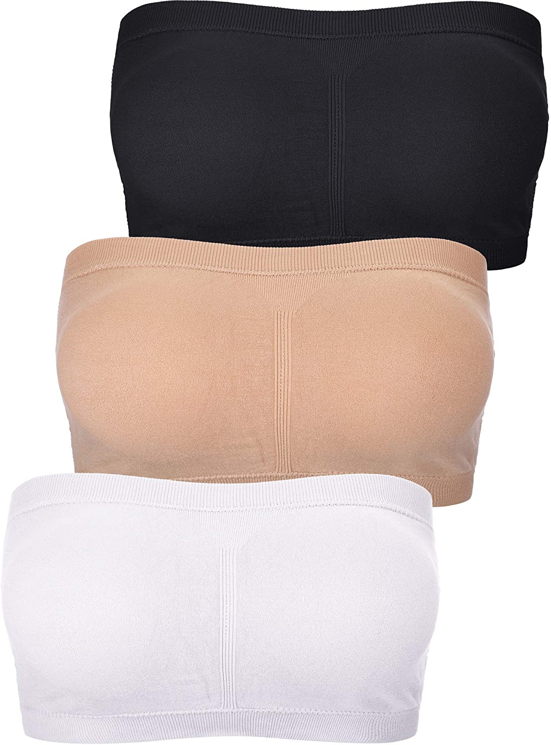 Boao 3 Pieces Women Bandeau Bra Padded Strapless Brarette Soft Bra Seamless Bandeau Tube Top Bra Assorted Sizes