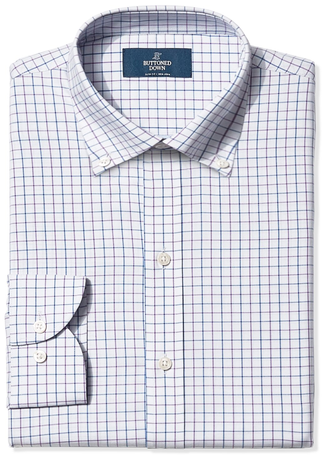 BUTTONED DOWN Men's Slim Fit Button-Collar Non-Iron Dress Shirt, Grey/Purple/Blue Tattersall Check, 16'' Neck 36'' Sleeve