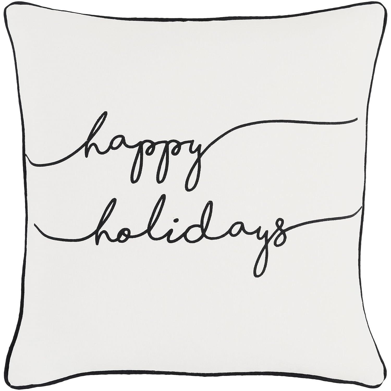 Artistic Weavers holi-7248は適用Holiday Joy枕カバー&ポリ挿入18 ' x 18 'ブラック&ホワイト正方形、ブラック&ホワイト   B01MCWPCIP