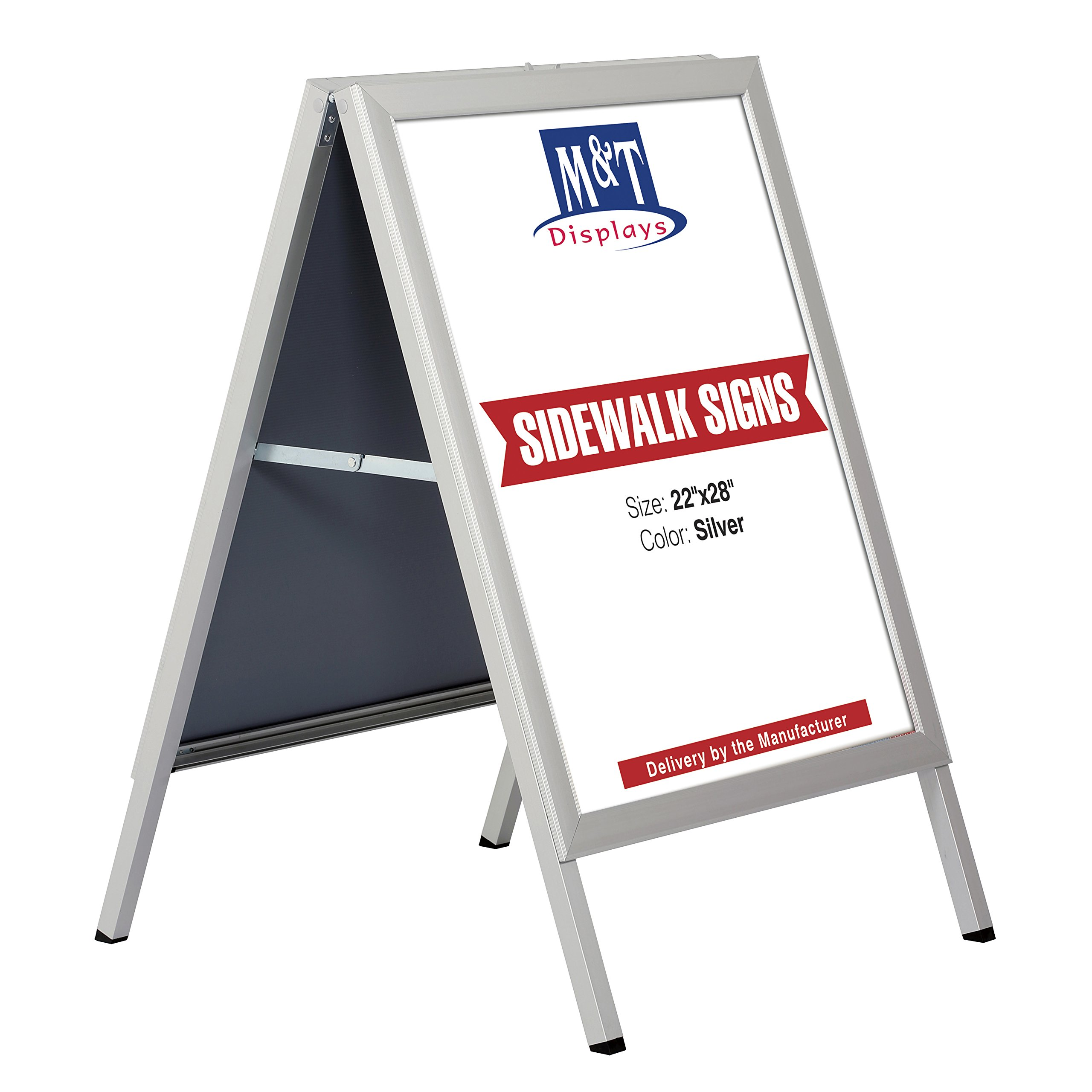 Slide-in A Frame Free Standing Business Sidewalk Display Sign, 22 x 28 Poster Size, Silver by M&T Displays (Image #1)