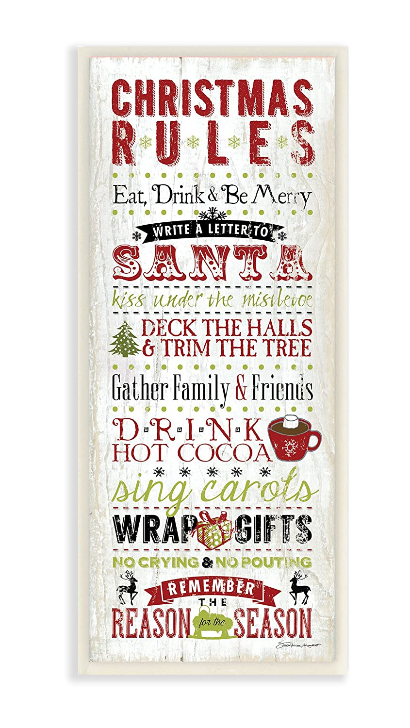 The Stupell Home Decor Collection Christmas Rules Typography Wall Plaque Art