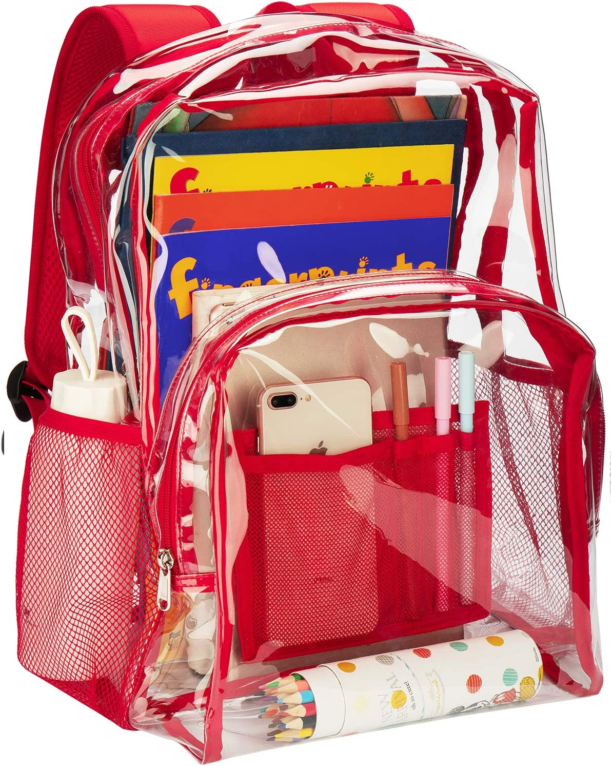 Red Vorspack Clear Backpack Heavy Duty PVC Transparent School Backpack with Reinforced Strap Stitches /& Large Capacity for College Workplace Security