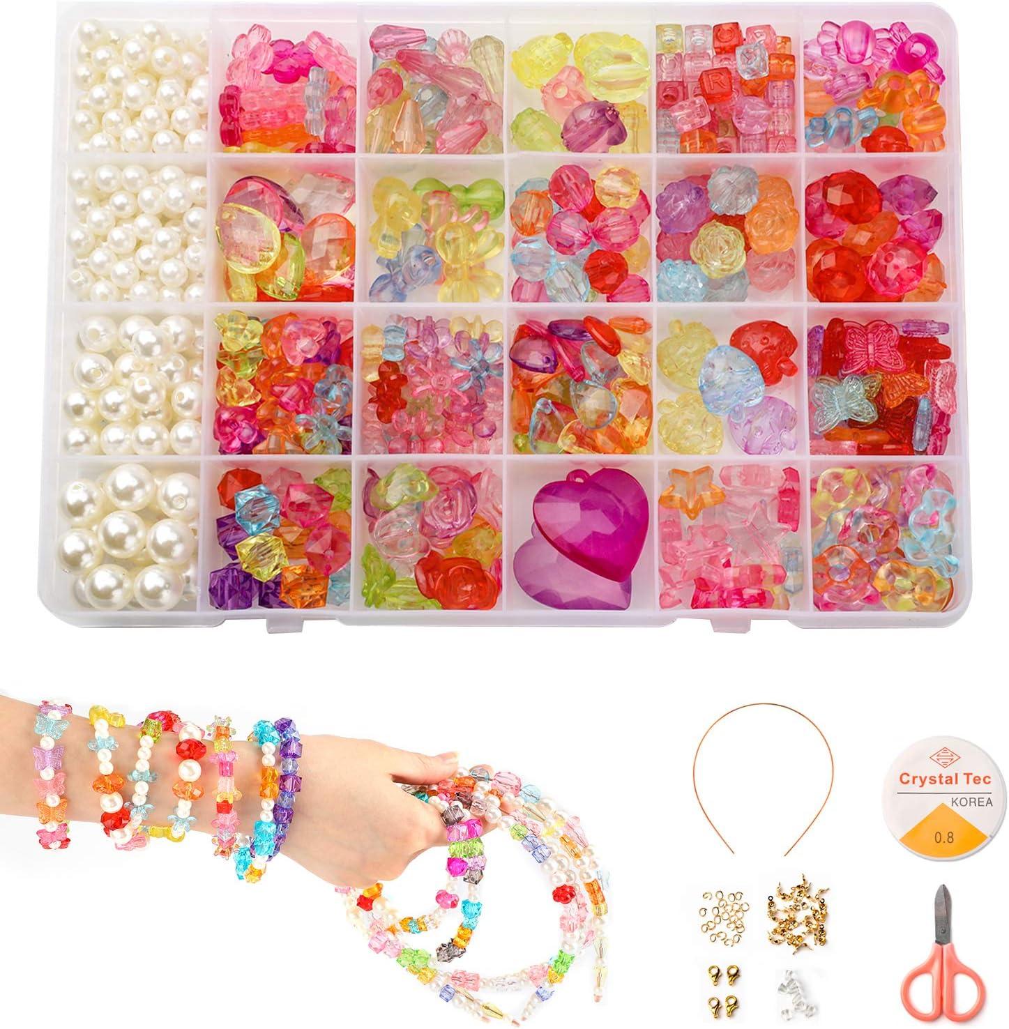 PHOGARY Set de Abalorios Infantiles DIY (500 Piezas), Pulseras de Bricolaje Collares de Cuentas para niños, Kit de joyería como Kit de Regalo para niña
