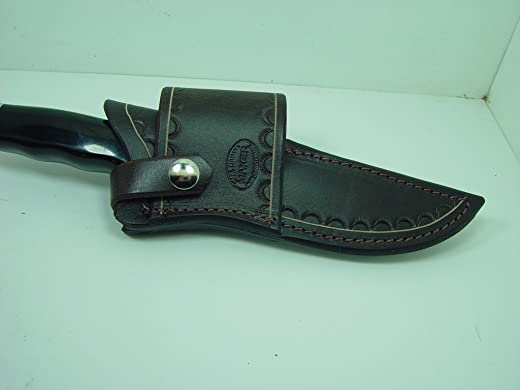 Custom Leather Cross Draw Knife Sheath for a Buck 119 Dyed Brown Sheath Only!