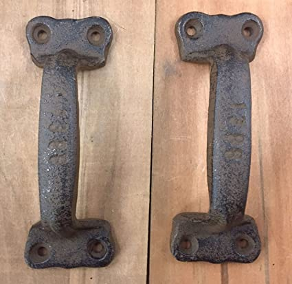 2 Cast Iron Antique Style Rustic Barn For Gate Pull Shed Door Handles -  Vintage Durable - 2 Cast Iron Antique Style Rustic Barn For Gate Pull Shed Door