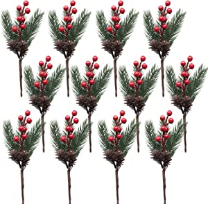 Artificial Pine Picks, SPWOLFRT 12 Pieces Christmas Red Berries/Berry Decorations/Artificial Pine Cones/Holly Leaves/Wreath Picks for Winter Décor, Holiday Crafts, Xmas Decorations (Red)