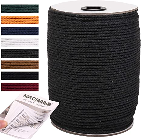 3 Strand Twisted Cotton Rope Macrame Yarn Knitting Colorful Cotton Craft Cord for Wall Hanging NOANTA Deep Purple Macrame Cord 3mm x 109yards Crafts Colored Macrame Rope Plant Hangers