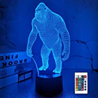 Gorilla 3D Night Light, FULLOSUN Monkey LED Illusion Hologram Lamp 16 Colors Changing with Remote Control, Kids' Bedroom…