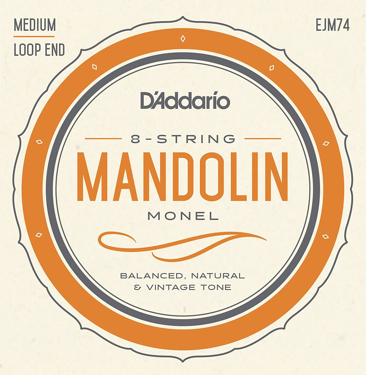 D'Addario Mandolin Monel Set, Medium, 11-40 (EJM74) D'Addario &Co. Inc