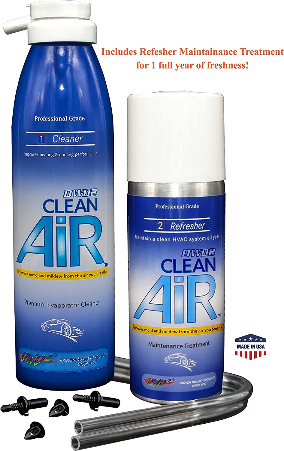 DWD2 Clean AIR Premium Automotive Foaming AC Evaporator Coil Cleaner & Refresher (Unscented) Renew Your air Conditioner!