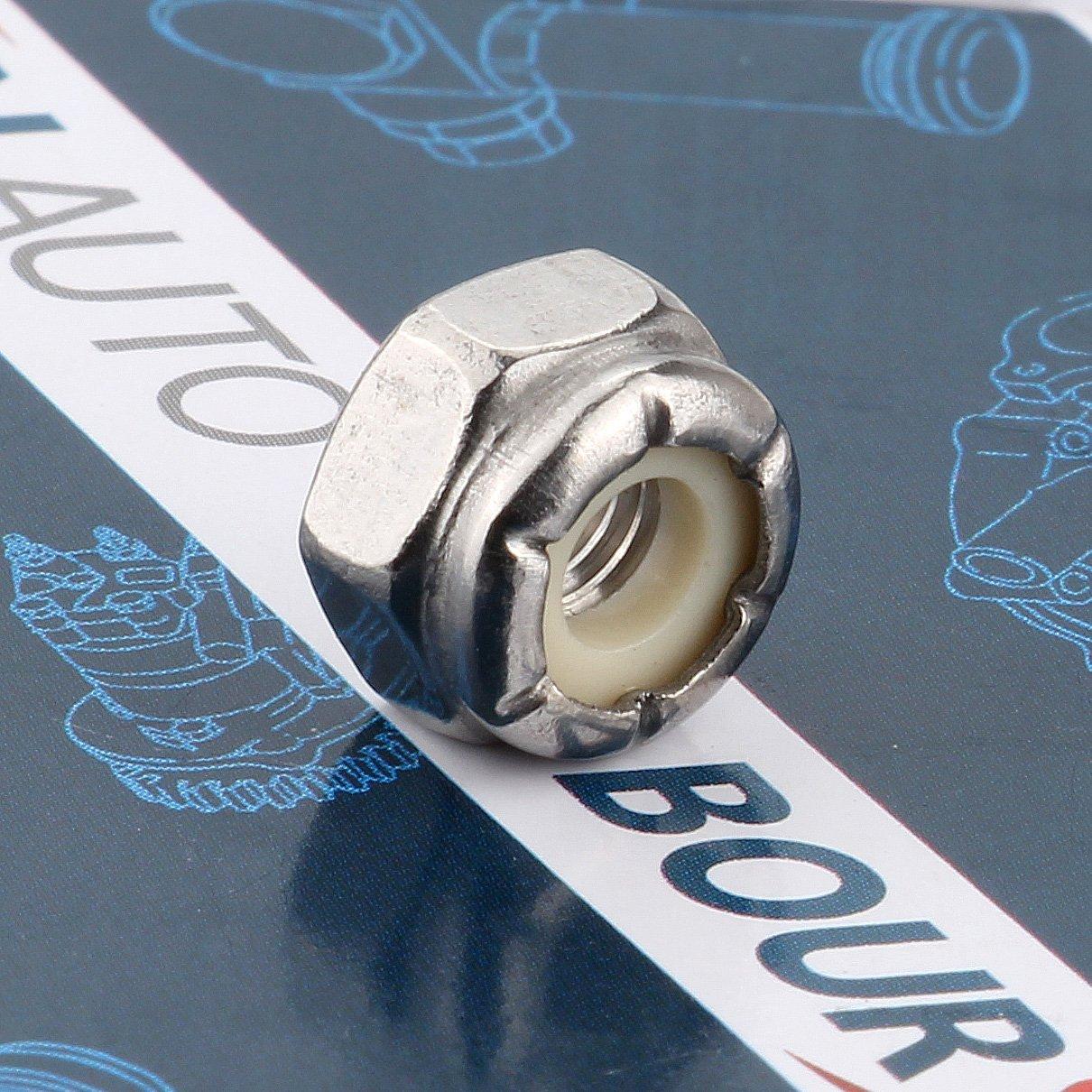 #10-32 Inch Nylon Insert Hex Lock Nuts 18-8 304 Stainless Steel 120 Pieces Boursin Hardware.Ltd