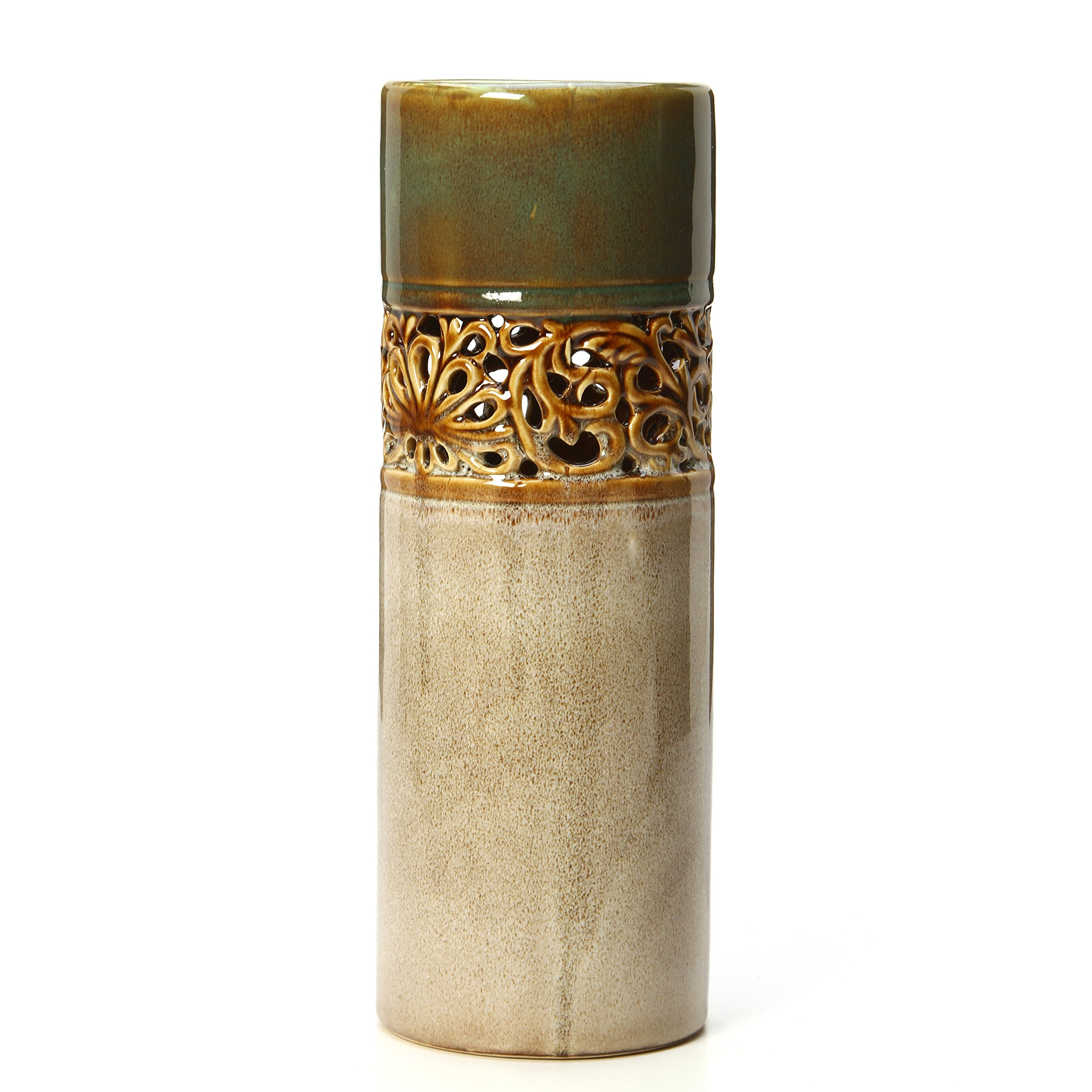 Hosley 12'' High Ceramic Decorative Floral Vase. Ideal for Weddings, Special Occasions and for Spa, Reiki, Meditation Settings, Dried Floral Vase O6