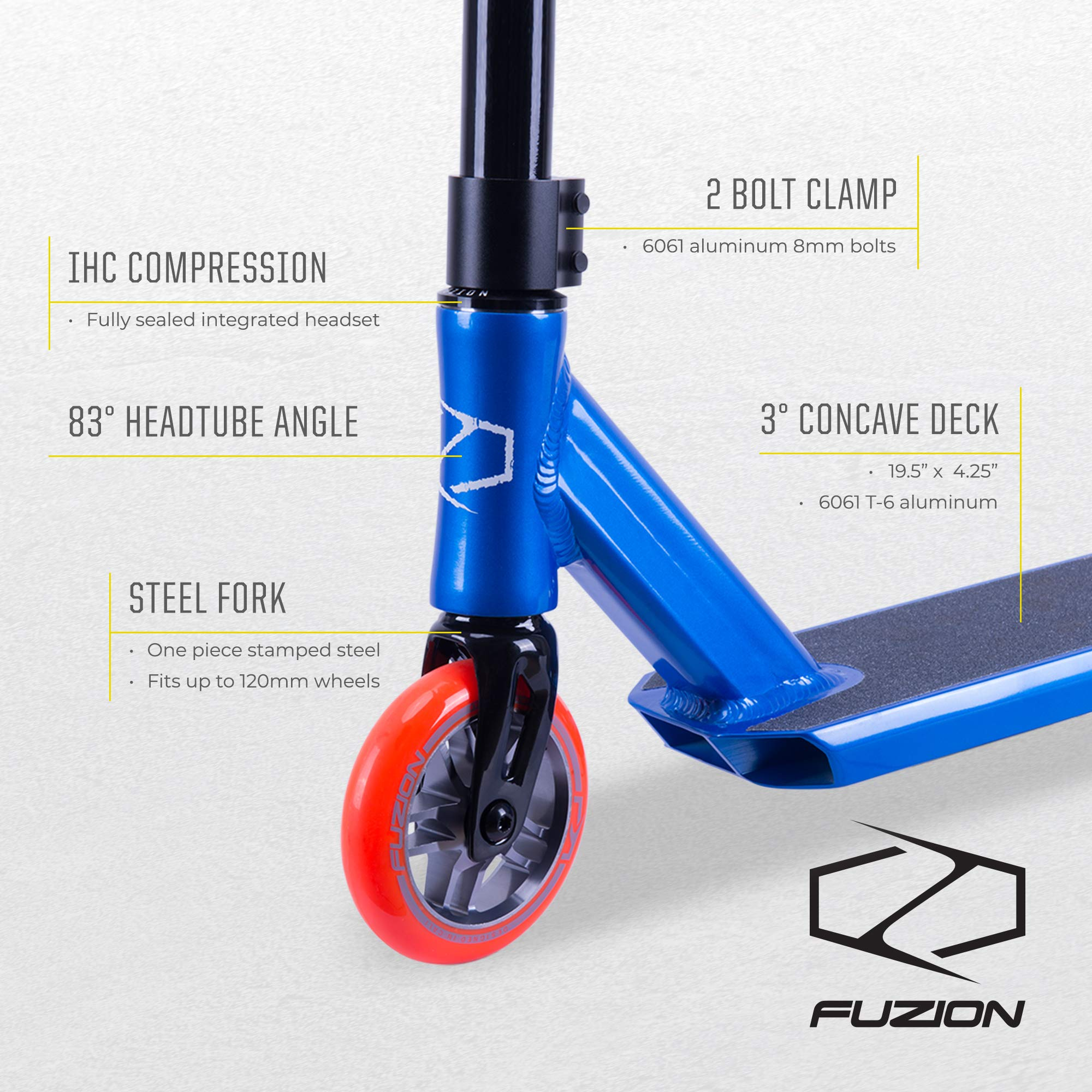 Fuzion Z250 Pro Scooters - Trick Scooter - Intermediate and Beginner Stunt Scooters for Kids 8 Years and Up, Teens and Adults – Durable Freestyle Kick Scooter for Boys and Girls (2019 Racing Blue) by Fuzion (Image #2)