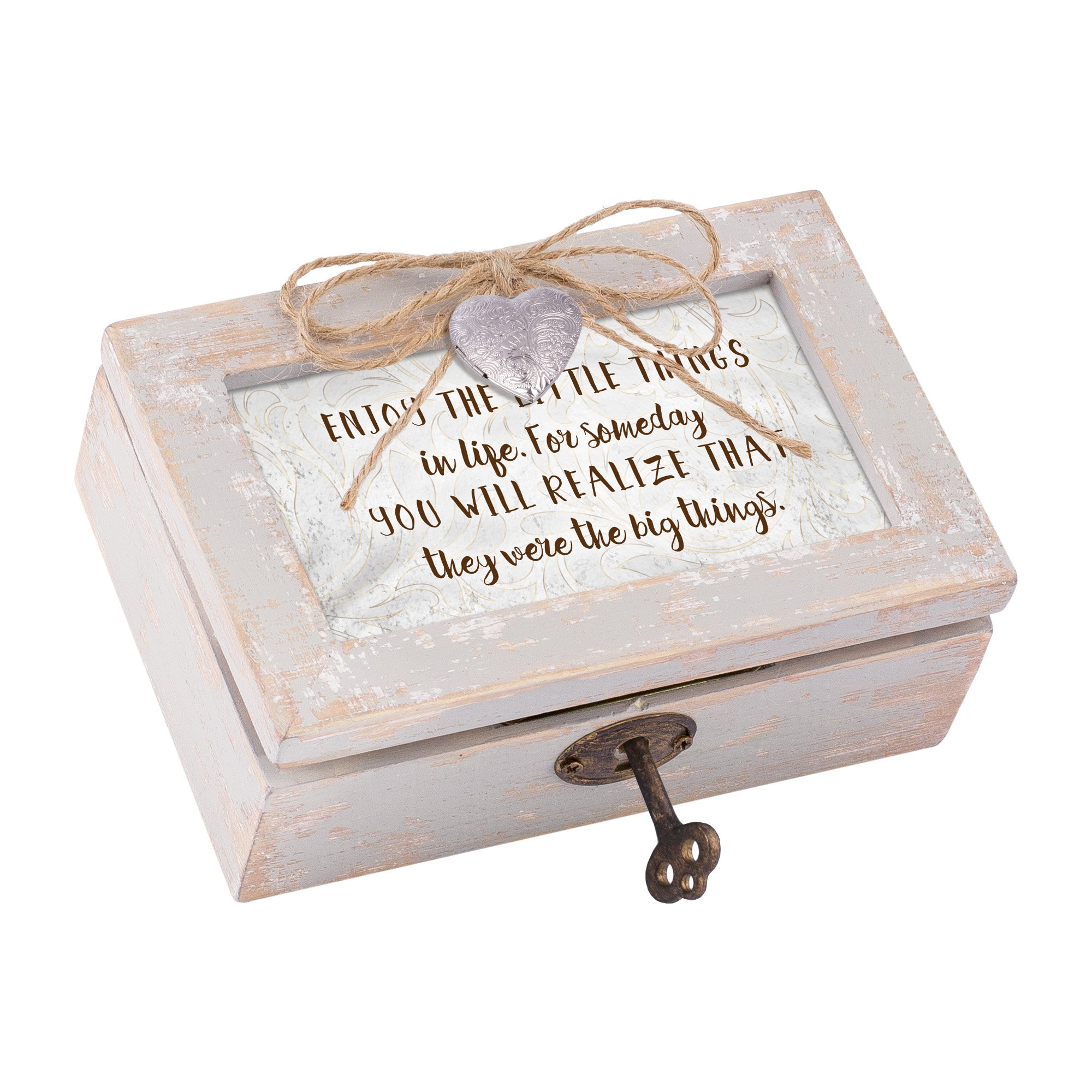 Enjoy The Little Realize The Big Distressed Wood Locket Jewelry Music Box Plays Tune Edelweiss