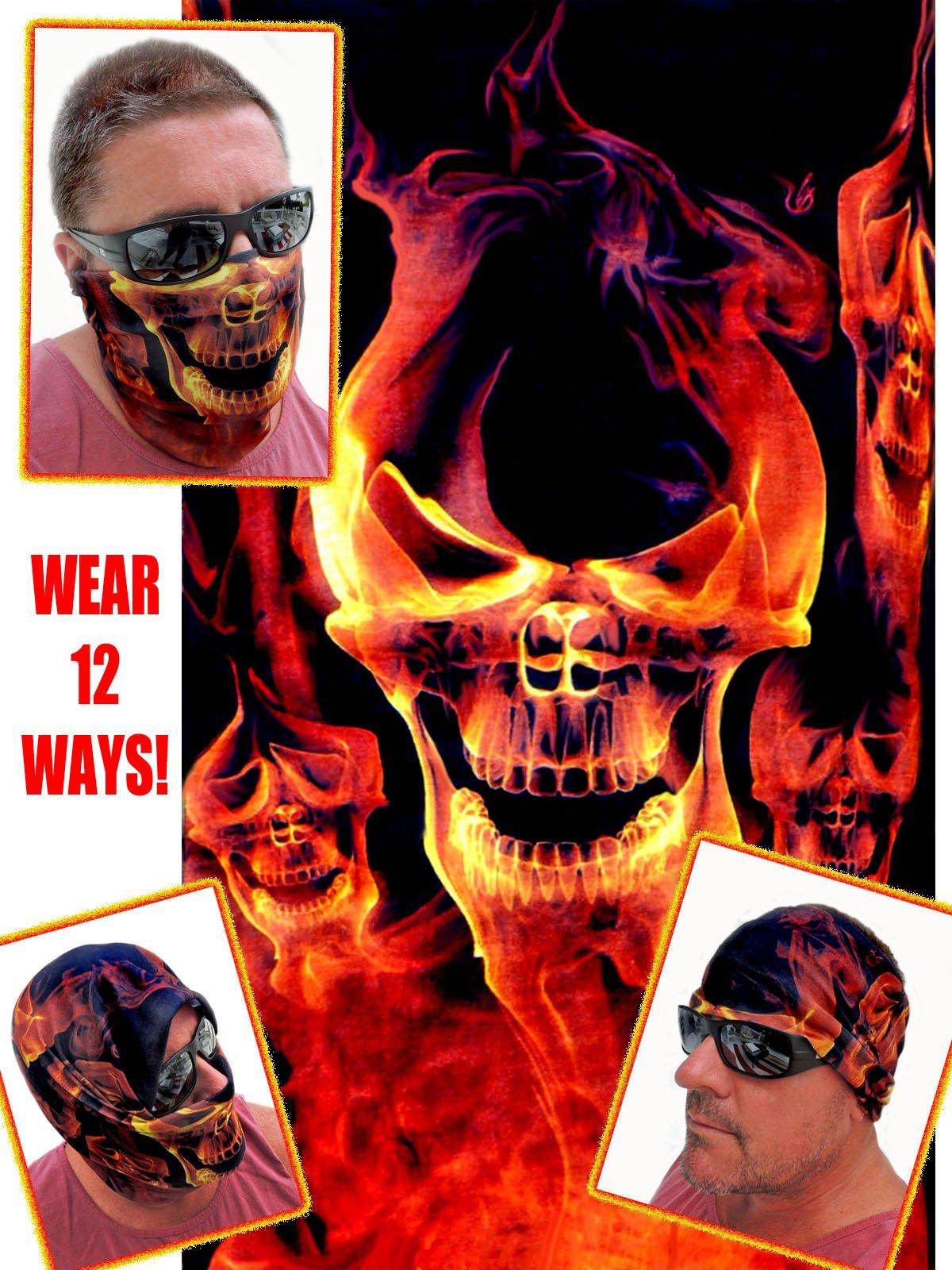 12-in-1 Headband - RED Skull Flame - Versatile Sports & Casual Headwear - Wear as a Bandana, Neck Gaiter, Balaclava, Helmet Liner, Mask - High Performance Microfiber