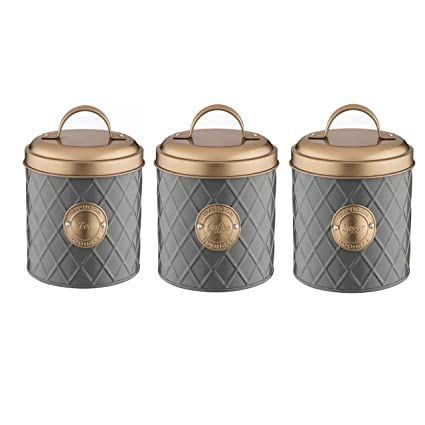 Typhoon Living Stainless Steel Set Of Tea Coffee Sugar Storage Jar Canister With Lid In Choice Of Colours Grey With Copper Lid