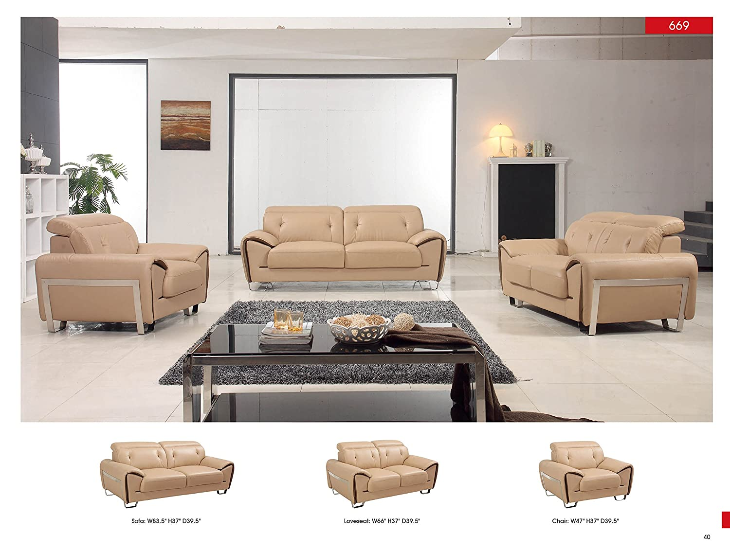 Amazon.com: Z-69 Modern Living Room Leather Sofa Set ...