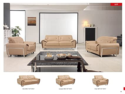 Amazon.com: Z-69 Modern Living Room Leather Sofa Set Contemporary ...