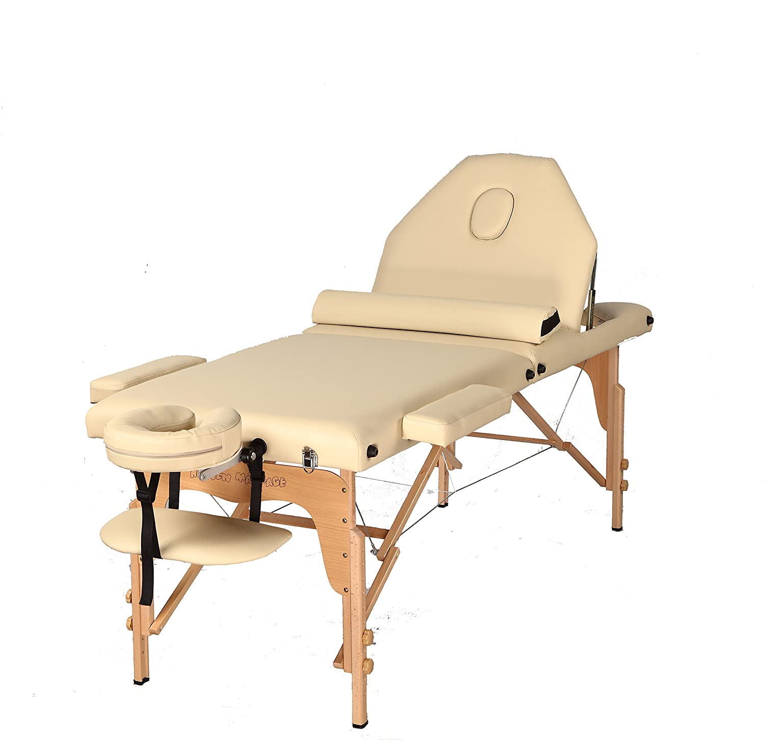 The Best Massage Table 3 Fold Reiki Portable Massage Table Free Half Bolster and Carry Case- PU Leather High Quality CREAM