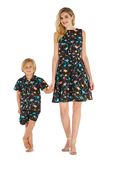 d90e9d5ccd4b Hawaii Hangover Matching Mother Son Hawaiian Luau Outfit Women Vintage  Dress Boy Shirt Shorts Various Patterns: Amazon.co.uk: Clothing