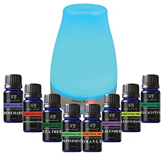 Radha Beauty Top 8 Essential Oils Set with Diffuser