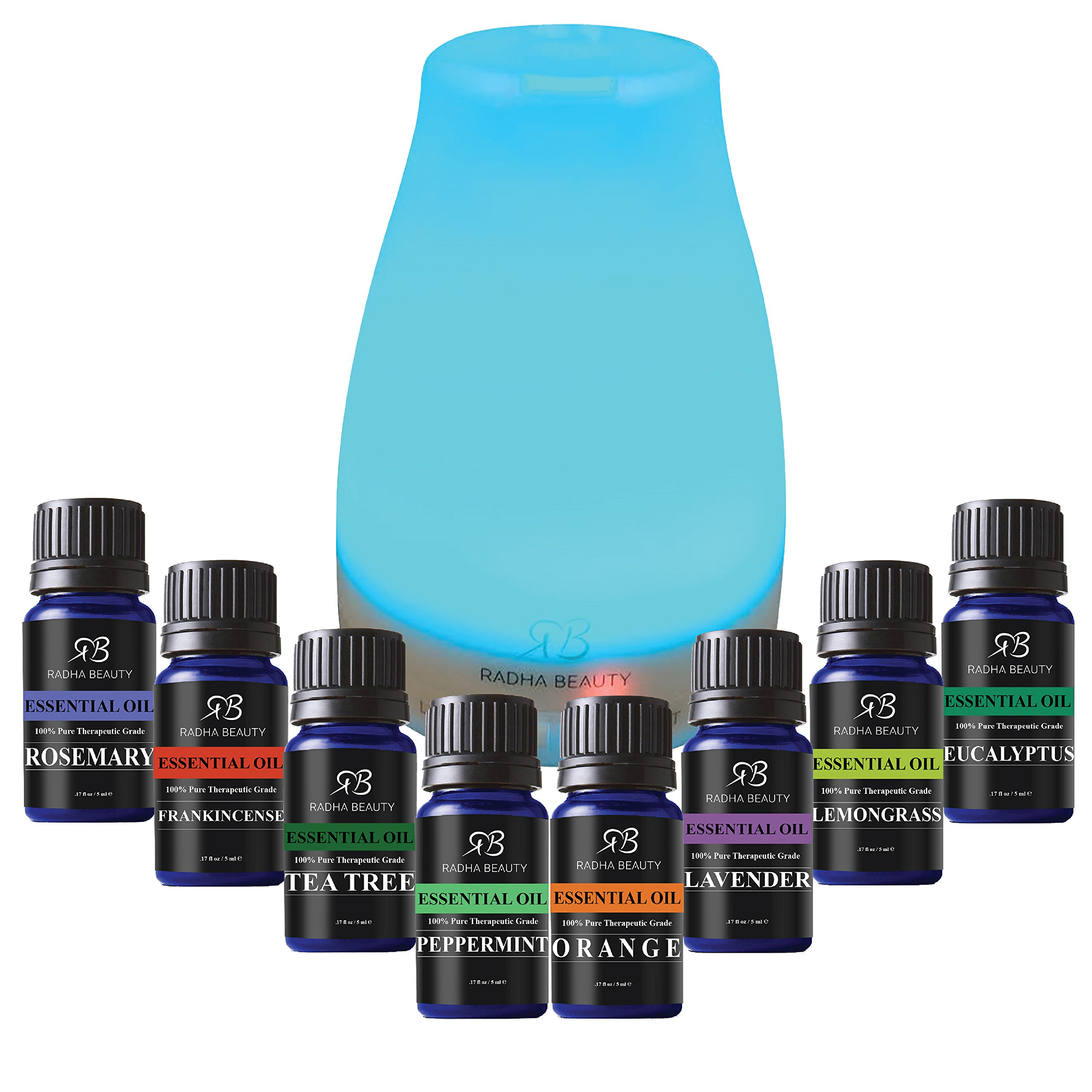 Aromatherapy Top 8 Essential Oil and Diffuser Gift Set - Peppermint, Tea Tree, Lavender & Eucalyptus - Auto Shut-off and 7 Color LED Lights – Therapeutic Grade Oils by Radha Beauty by Radha Beauty (Image #1)